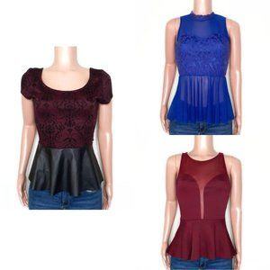 Going Out Dressy Tops Burgundy & Blue Size M Lot